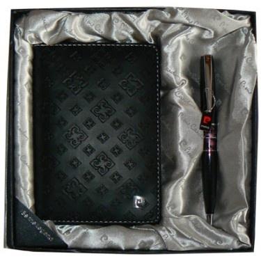 PS1138BI Набор: Обложка для паспорта и ручка. Ручка шариковая, латунь+лак, акрил, хром. Цвет черный.