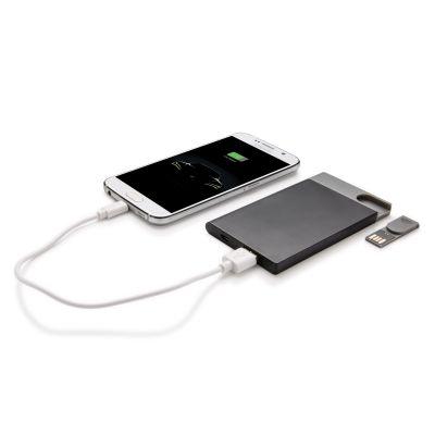 XI170190347 Зарядное устройство с USB–флешкой на 8 ГБ, 2500 mAh, черный