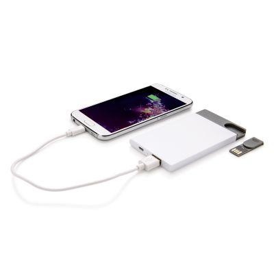 XI170190348 Зарядное устройство с USB–флешкой на 8 ГБ, 2500 mAh, белый