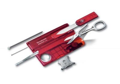 VX21S-RED1 Victorinox SwissCard. Швейцарская карточка VICTORINOX SwissCard Lite, 13 функций, полупрозрачная красная