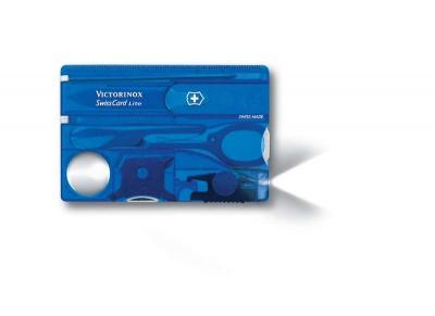 VX21S-BLU1 Victorinox SwissCard. Швейцарская карточка VICTORINOX SwissCard Lite, 13 функций, полупрозрачная синяя