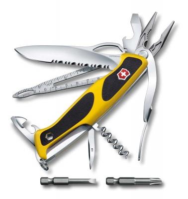 GR1711131046 Victorinox Ranger. Нож перочинный VICTORINOX RangerGrip Boatsman, 130 мм, 22 функции, с фиксатором, жёлтый с чёрным