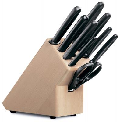 VX29S-BRN8 Victorinox Кухонная серия. Набор из 9 столовых приборов VICTORINOX: 6 ножей, вилка д/мяса, ножницы, мусат, в буковой подставке