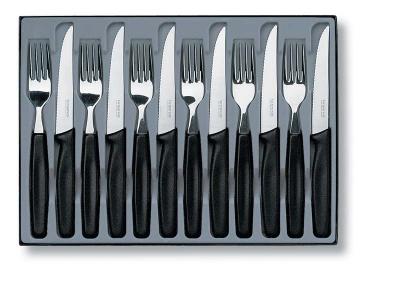 VX29S-BLK8 Victorinox Кухонная серия. Набор столовых приборов VICTORINOX: 6 ножей для стейков 5.1233 и 6 вилок 5.1543, чёрная рукоять