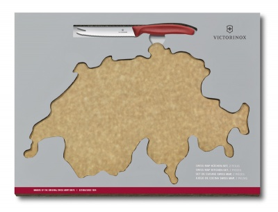 GR171113915 Victorinox Кухонная серия. Набор VICTORINOX Swiss Map: нож для сыра и колбасы Swiss Classic 11 см + разделочная доска Epicurean