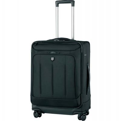 GR210919279 Victorinox. Чемодан VICTORINOX VX One VX 24 Dual-Caster, чёрный, нейлон 1000D/кожа, 42x30x63 см, 79 л