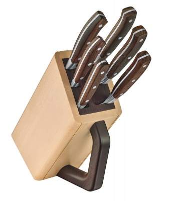 VX2005126 Victorinox Кухонная серия. Набор из 6 кованых кухонных приборов VICTORINOX: 5 ножей и вилка, в подставке из бука
