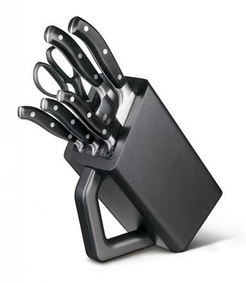 GR171113932 Victorinox Кухонная серия. Набор из 6 кованых кухонных приборов VICTORINOX: 5 ножей и ножницы, в антрацитовой подставке из бука