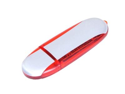 OA2003025140 Флешка промо овальной формы, 64 Гб, серебристый/красный