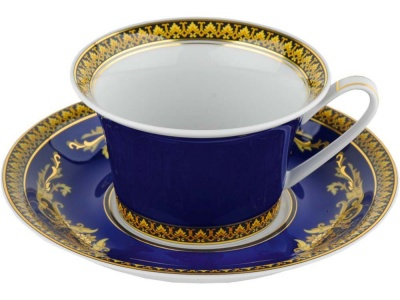 OA28T-BLU5 VERSACE. Чайная пара Versace Medusa, синий/золотистый