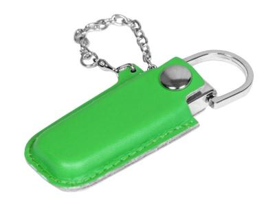 OA2003025351 Флешка в массивном корпусе с кожаным чехлом, 64 Гб, зеленый