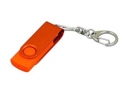 OA2003025378 Флешка промо поворотный механизм, с однотонным металлическим клипом, 16 Гб, оранжевый