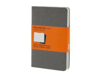 60712110 Записная книжка Moleskine Cahier (в линейку, 3 шт.), Pocket (9х14см), серый