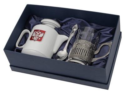 OA2003023849 Чайный набор с подстаканником и фарфоровым чайником ЭГОИСТ-М, серебристый/белый