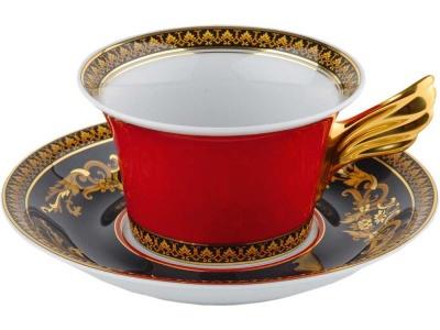 OA28T-RED10 VERSACE. Чайная пара Versace Medusa, красный/золотистый