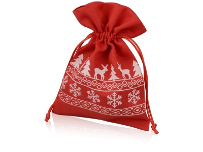 OA1701222985 Мешочек подарочный новогодний, хлопок, средний, красный