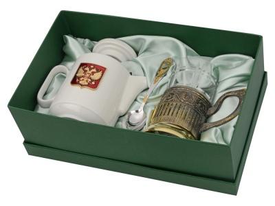 OA2003023848 Чайный набор с подстаканником и фарфоровым чайником ЭГОИСТ-Л, золотистый/белый