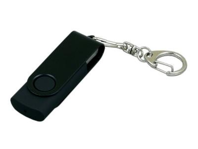 OA2003025388 Флешка промо поворотный механизм, с однотонным металлическим клипом, 64 Гб, черный