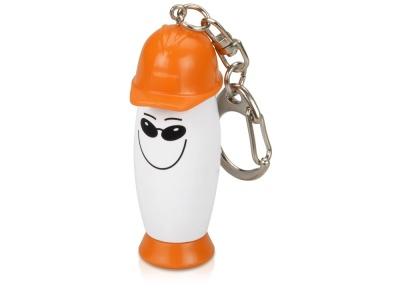 OA22B-ORG3 Брелок-фонарик с ручкой в виде человечка в каске, белый/оранжевый