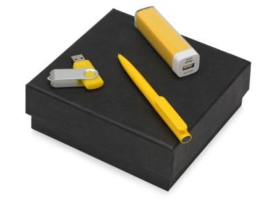 OA2003023797 Подарочный набор On-the-go с флешкой, ручкой и зарядным устройством, желтый