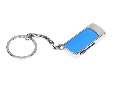OA2003025263 Флешка прямоугольной формы, выдвижной механизм с мини чипом, 32 Гб, синий/серебристый