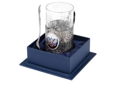 OA2003023846 Подстаканник с хрустальным стаканом и ложкой РОССИЙСКИЙ-М, серебристый/прозрачный