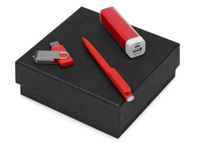 OA2003023799 Подарочный набор On-the-go с флешкой, ручкой и зарядным устройством, красный