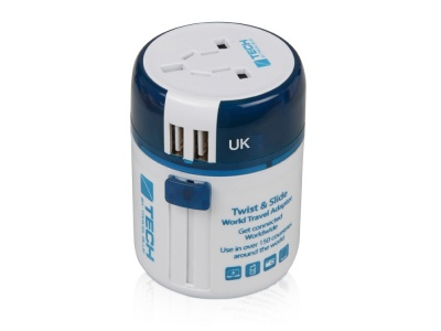 OA2003021630 Travel Blue. Адаптер с 2-умя USB-портами для зарядки Travel Blue Twist & Slide Adaptor голубой/белый