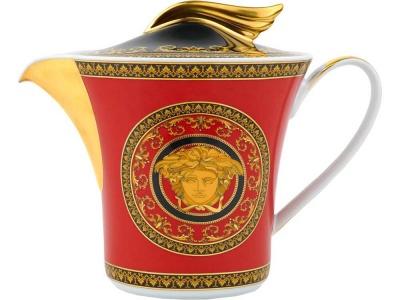 OA28T-RED8 VERSACE. Чайник Versace Medusa, красный/золотистый