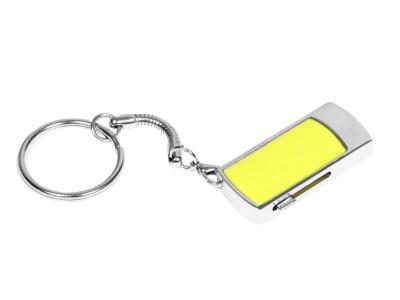 OA2003025279 Флешка прямоугольной формы, выдвижной механизм с мини чипом, 64 Гб, желтый/серебристый