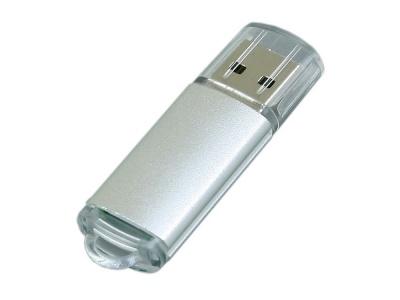 OA2003024934 Флешка промо прямоугольной формы  c прозрачным колпачком, 64 Гб, серебристый