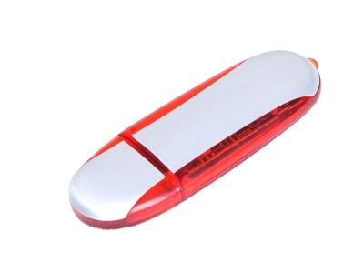 OA2003025134 Флешка промо овальной формы, 32 Гб, серебристый/красный