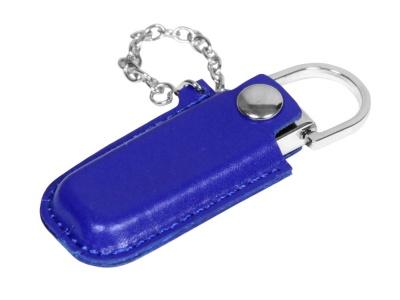 OA2003025349 Флешка в массивном корпусе с кожаным чехлом, 64 Гб, синий