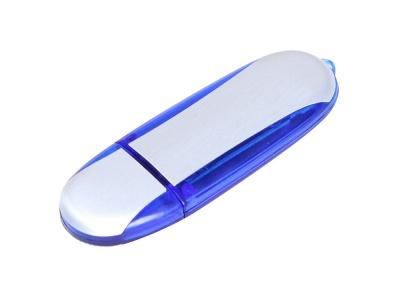 OA2003025126 Флешка промо овальной формы, 16 Гб, серебристый/синий