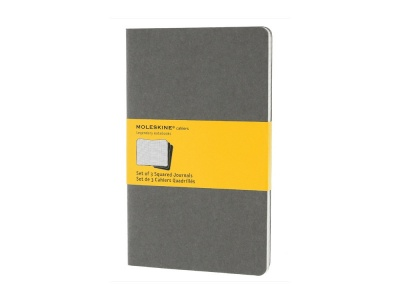 50712210 Записная книжка Moleskine Cahier (в клетку, 3 шт.), Large (13х21см), серый