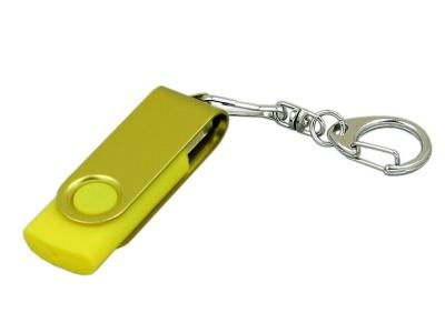 OA2003025393 Флешка промо поворотный механизм, с однотонным металлическим клипом, 64 Гб, желтый