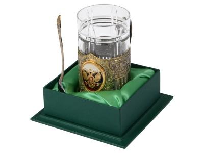 OA2003023847 Подстаканник с хрустальным стаканом и ложкой РОССИЙСКИЙ-Л, золотистый/прозрачный