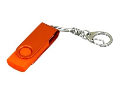 OA2003025391 Флешка промо поворотный механизм, с однотонным металлическим клипом, 64 Гб, оранжевый