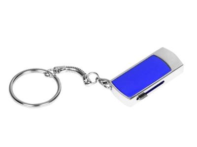 OA2003025273 Флешка прямоугольной формы, выдвижной механизм с мини чипом, 64 Гб, темно-синий/серебристый