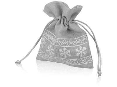 OA1701222984 Мешочек подарочный новогодний, хлопок, малый, серый