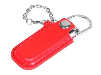 OA2003025353 Флешка в массивном корпусе с кожаным чехлом, 64 Гб, красный