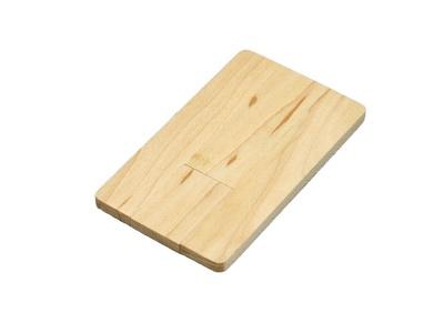 OA2003025012 Флешка в виде деревянной карточки с выдвижным механизмом, 64 Гб, натуральный
