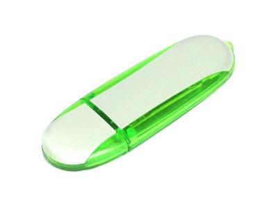 OA2003025138 Флешка промо овальной формы, 64 Гб, серебристый/зеленый