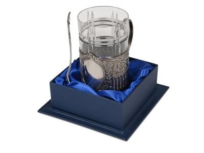 OA2003025536 Подстаканник с хрустальным стаканом Базовый-М, серебристый/прозрачный