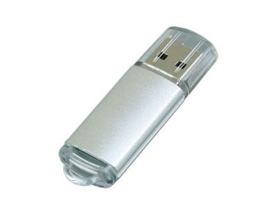OA2003024915 Флешка промо прямоугольной формы  c прозрачным колпачком, 16 Гб, серебристый