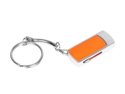 OA2003025266 Флешка прямоугольной формы, выдвижной механизм с мини чипом, 32 Гб, оранжевый/серебристый