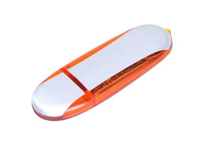 OA2003025139 Флешка промо овальной формы, 64 Гб, серебристый/оранжевый