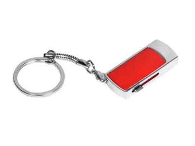 OA2003025276 Флешка прямоугольной формы, выдвижной механизм с мини чипом, 64 Гб, красный/серебристый