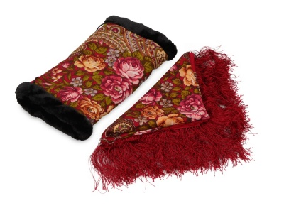 OA2003025445 Подарочный набор: Павлопосадский платок, муфта, красный/разноцветный