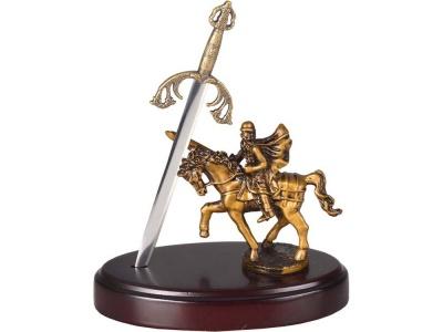 OA20O-BRN12 Нож на подставке Сэр Ланселот, серебристый/золотистый/красное дерево